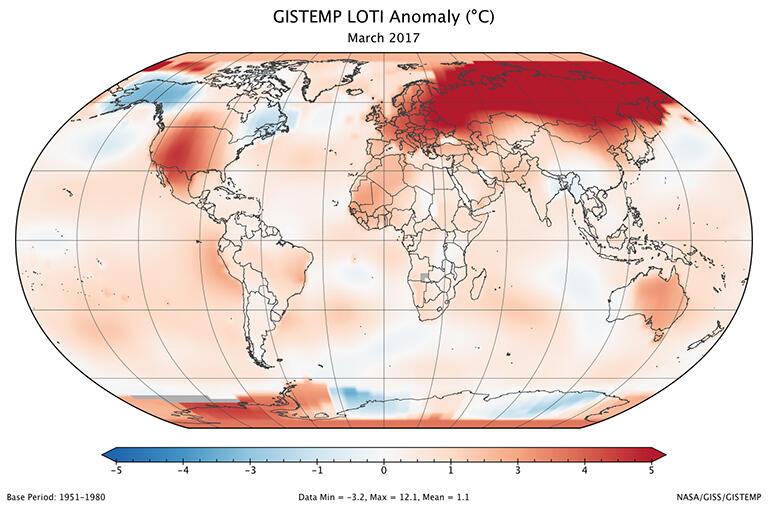 آذار 2017… ثاني أكثر الاشهر حرارة منذ 137 عاما