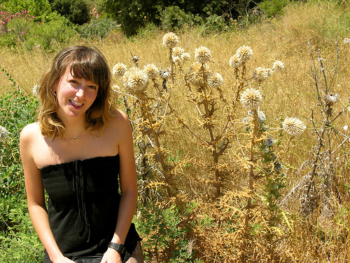 Me, with politically charged thistles.