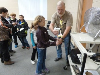 Testing windmill blades at the 2015 Science Fair.