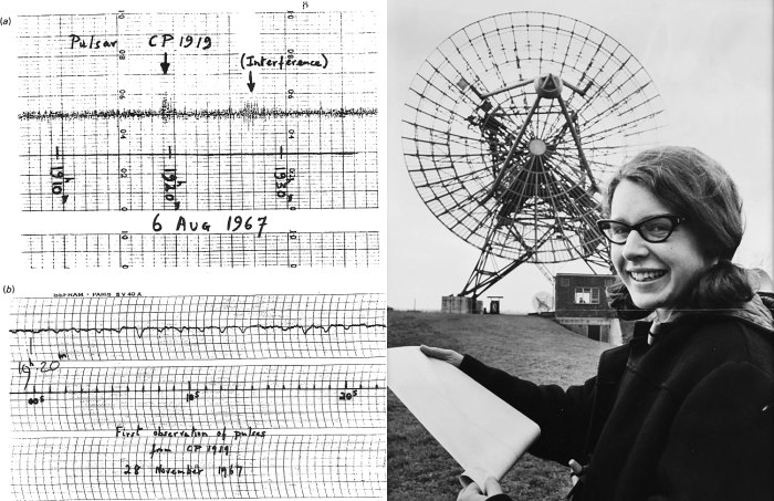 Image of first pulsar (paper) and Jocelyn Bell