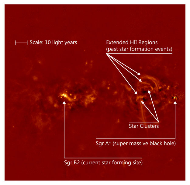 image showing the inner ~300 light years of our Galactic Center using the MUSTANG receiver at 3mm (PI Adam Ginsburg, data reduction by Simon Dicker and the GBT MUSTANG team). These observations show how dynamic (and dusty!) the center of our Galaxy is and how the GBT can recover the faint dust emission located in this distant part of the Galaxy.