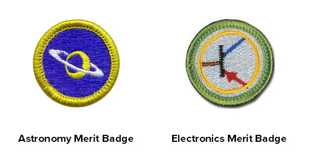 The Green Bank Observatory Scouts BSA Weekend includes either the Astronomy or the Electronics Merit Badge.