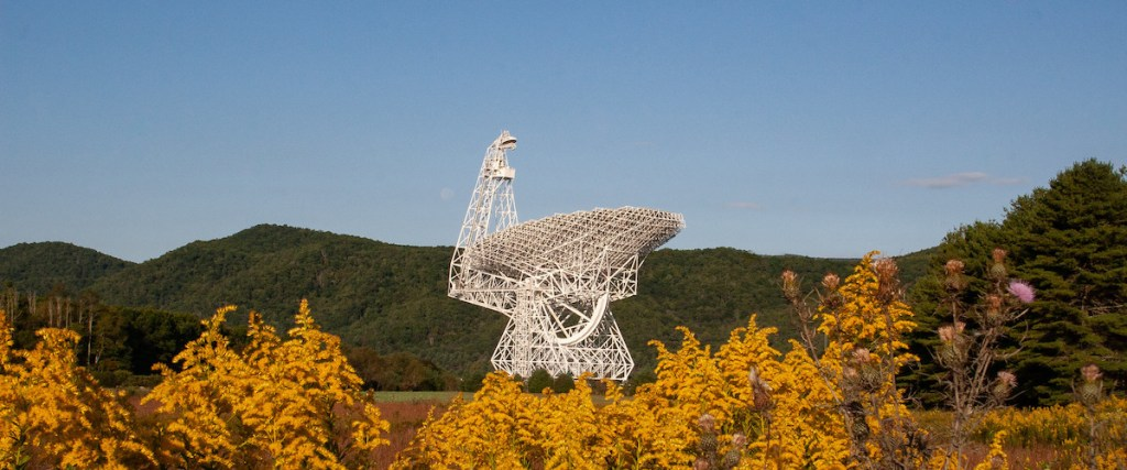 Green Bank Telescope and goldenrod