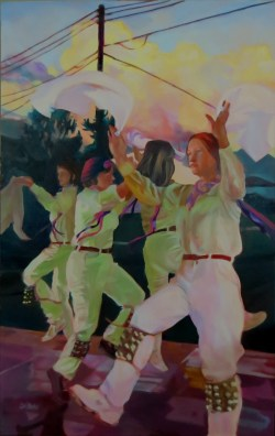Unlikely Dance: Golden Clouds - 30 x 48 in., oils on canvas
