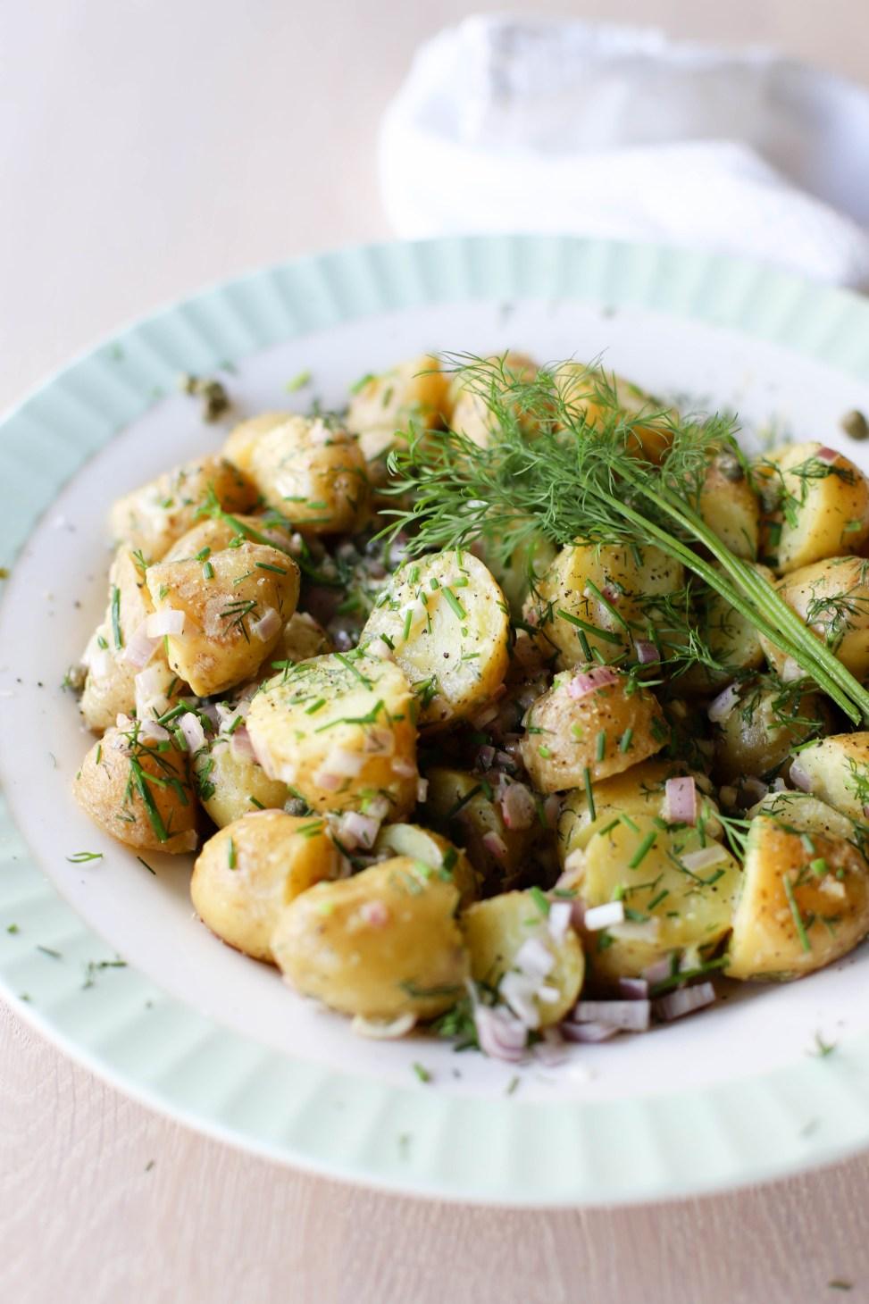 Fransk potetsalat uten majones