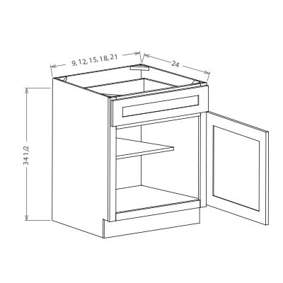 Base Cabinets 1-Door (B09, B12, B15, B18, B21