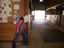 He scopes out the Horse Barn.