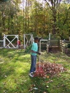 Jaylyn finds raking very grounding.