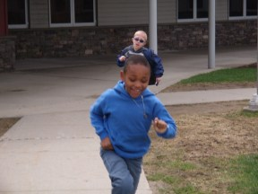 Jeriah and Alex make a mad dash away from the scene of the seed bombs!