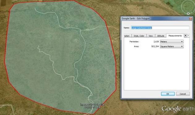 Natural catchment area calcualtion using Google earth pro