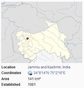 Dachigam National Park location