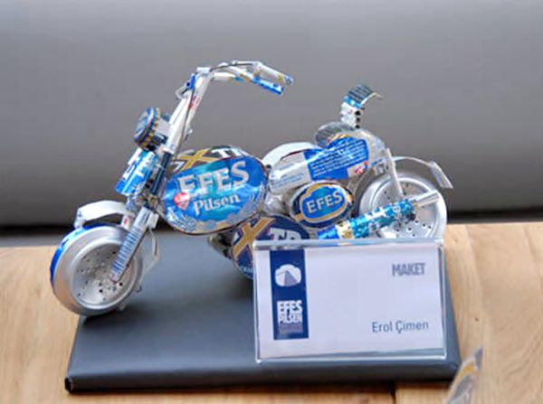 A bike made from beer cans