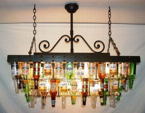 A two tier recycled beer bottle chandelier