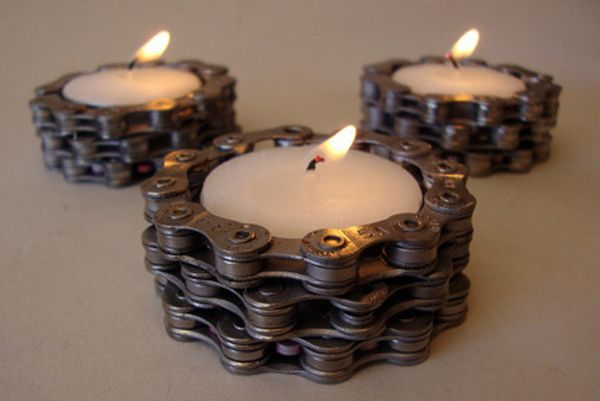 Bike Chain Tea Light Holders