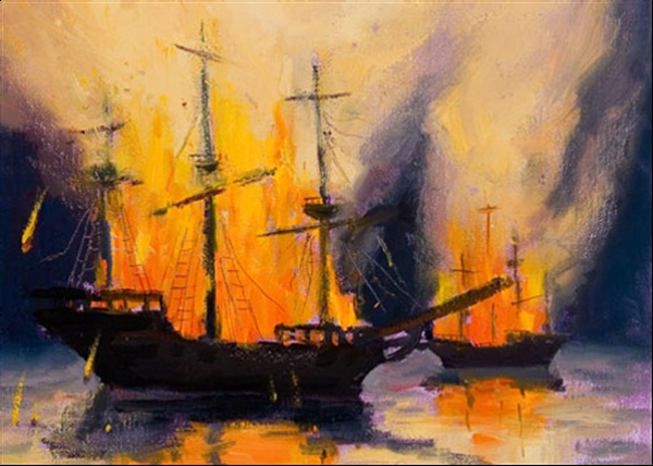 Burning Roman ship