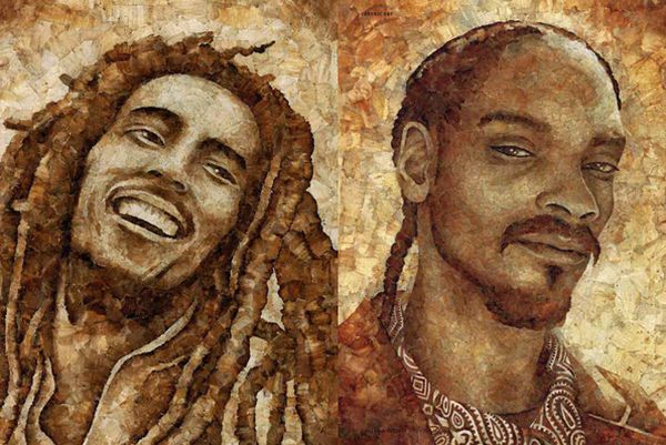 celebrity portraits made from smoked roaches and j