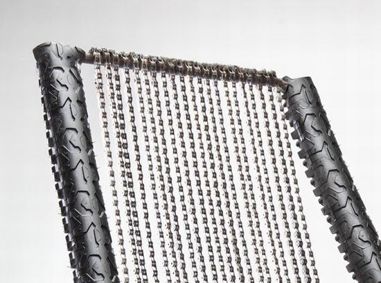 chain rocker made from recycled bicycle chains and