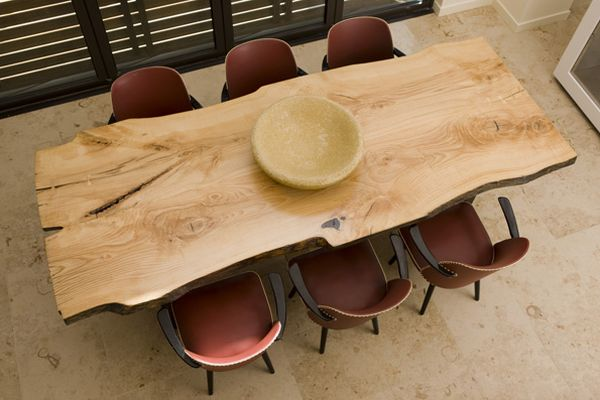 Dining table from recycled wood