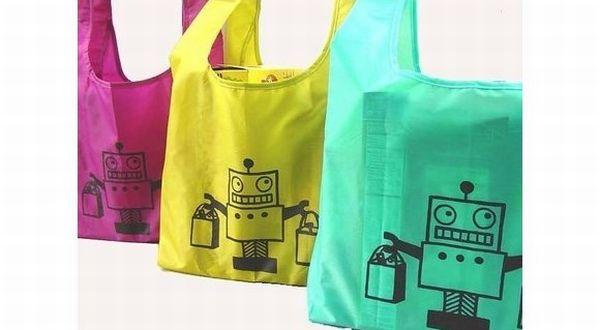 Dog Bone Art's Robot shopping bags