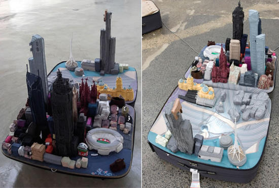 eco artist shuts recycled world cities in a suitca