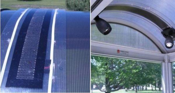 Flexible solar modules illuminate bus stops