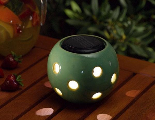 Green glazed ceramic solar sphere lantern