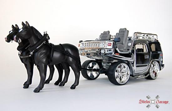 hummer h2 transformed into horse cart 3