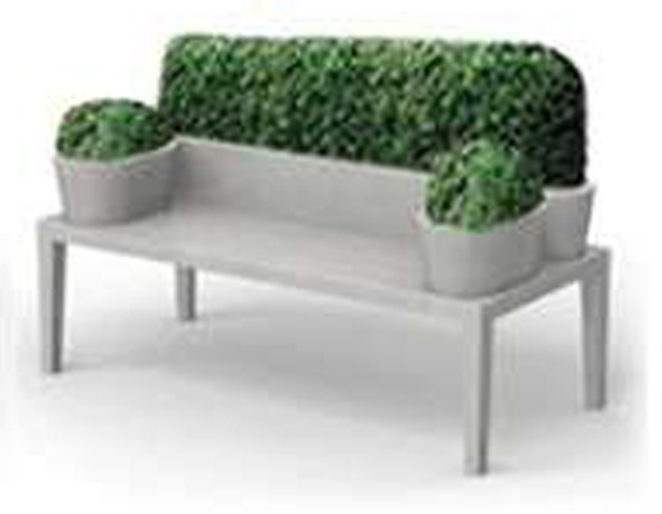 Living sofa with plants as back rest