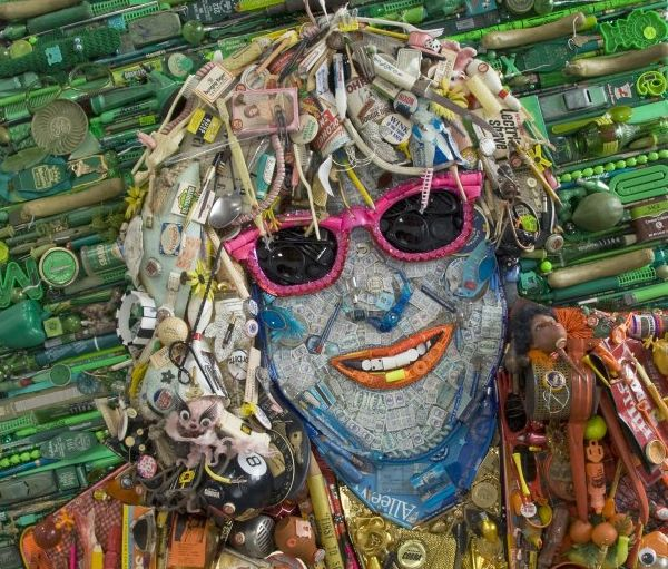 Mosaic Celebrity Portraits Made From Their Junk