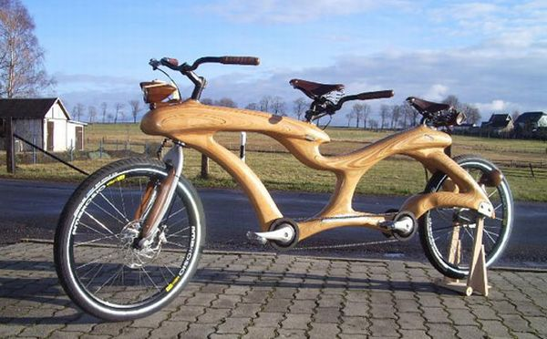 one-of-a-kind wooden bicycle