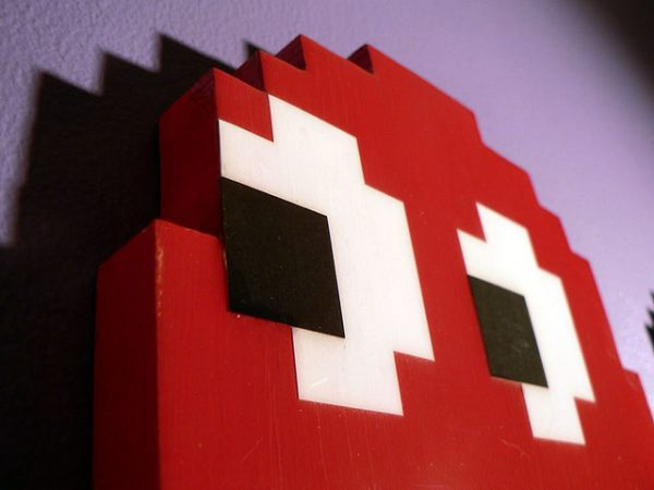 Pac-Man designs made using recycled materials