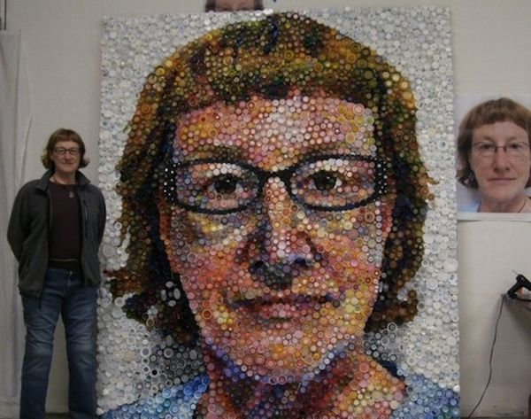 portrait made from discarded bottle caps