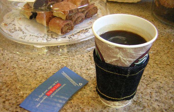 Raw denim coffee cozy