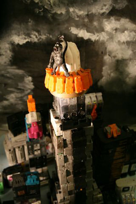 recycled ink cartridges converted into sci fi scul