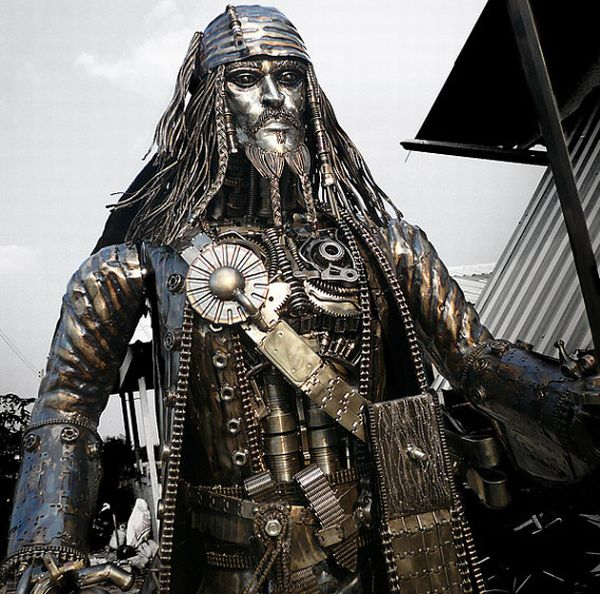 recycled jack sparrow scultpure 1
