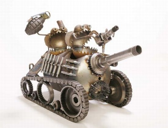 recycled military gear transformed into gnomes and