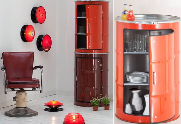 recycled oil barrel cabinets