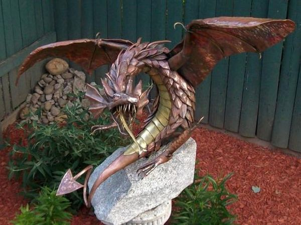 Recycled art made using discarded metal