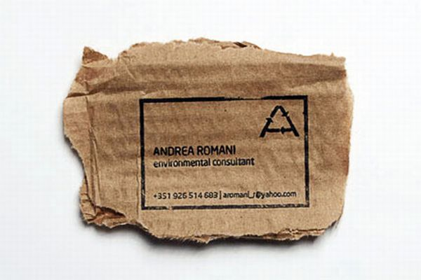 Recycled business card for an environment consultant