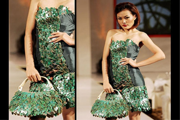 Recycled Circuit Board Dress and Bag