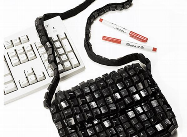 Recycled Keyboard Shoulder Purse