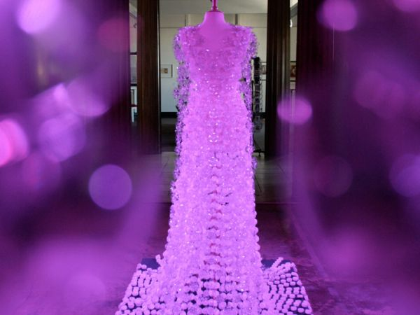 Recycled plastic bottle gown