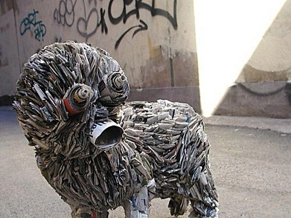 Rolled up newspaper sculpture
