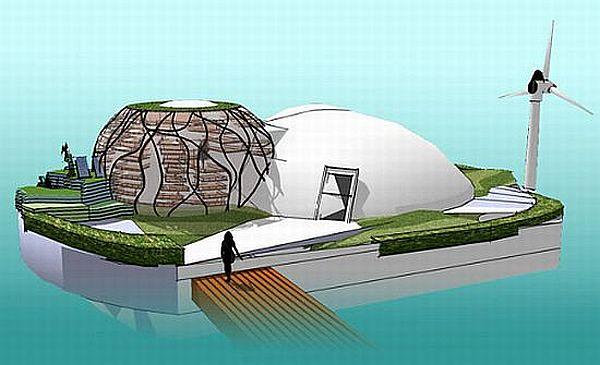 Solar, wind powered floating habitat