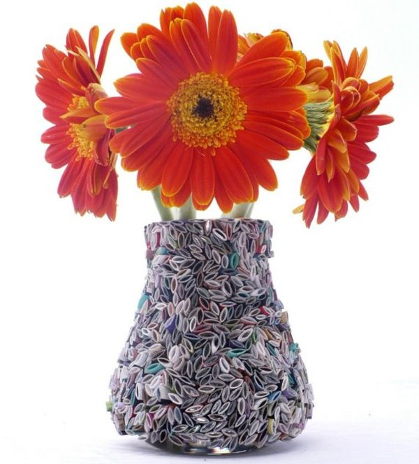 Vase made from recycled papers