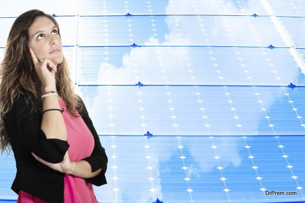 Woman and the solar panel