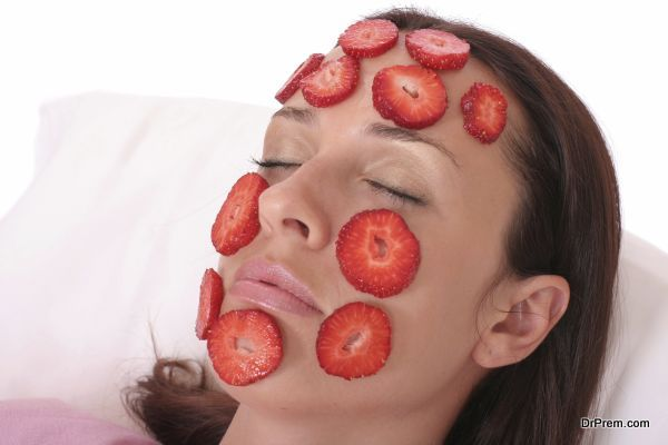 young woman with a Strawberry mask