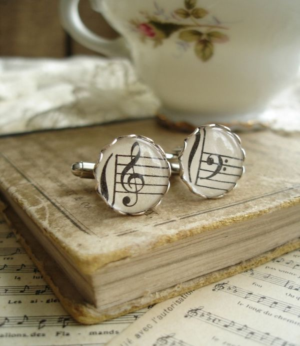 Musical Harmony Silver Cuff Links from Treble and Bass Clef