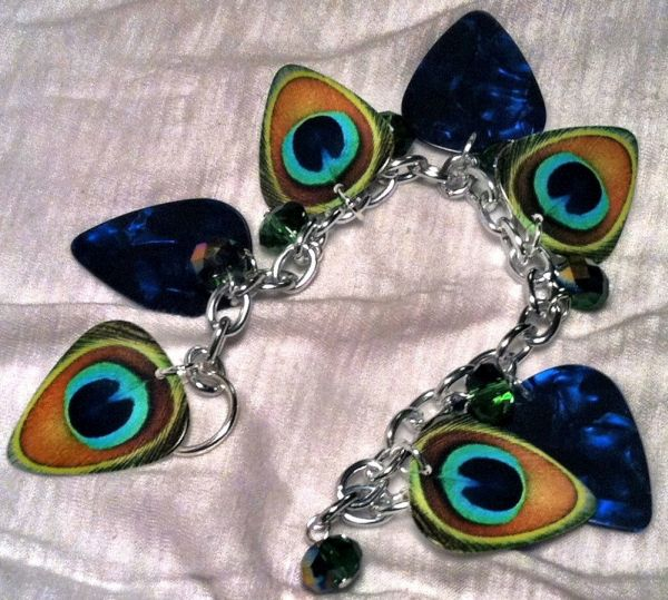 Peacock Guitar Pick Bracelet and Charm