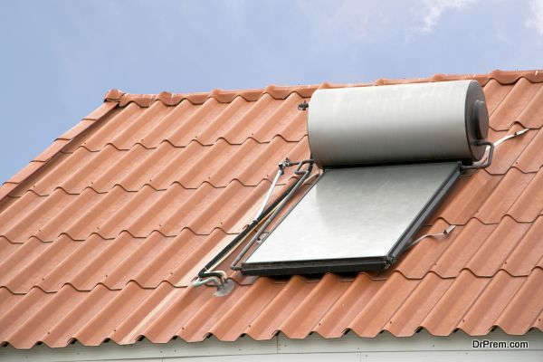 Solar panel for hot water system on roof